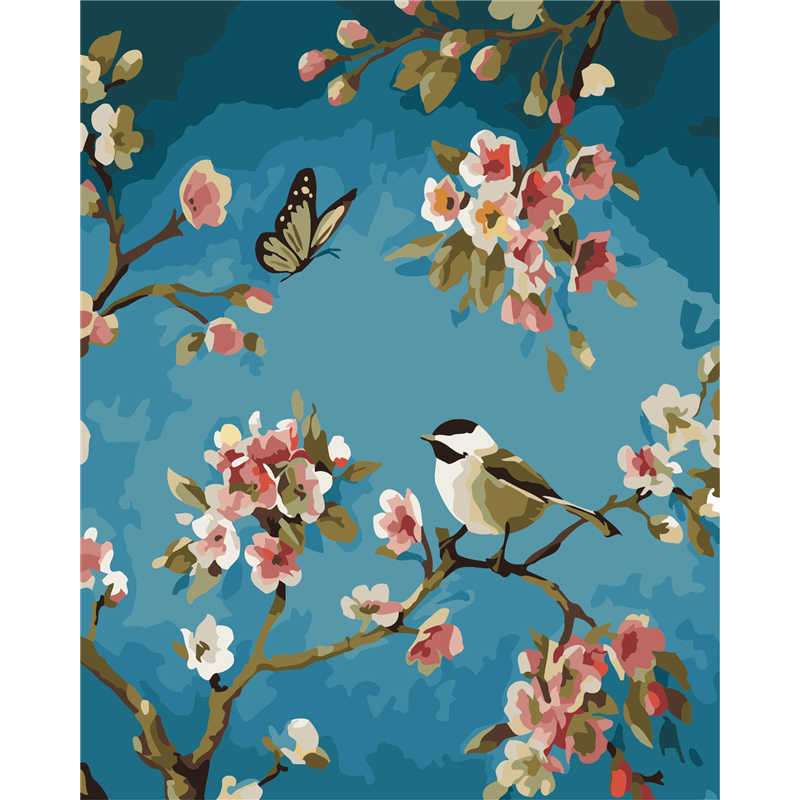 Frameless Wall Decor Picture Diy Painting By Numbers Hand Painted On Canvas Decoration Painting Good luck birds art oil painting