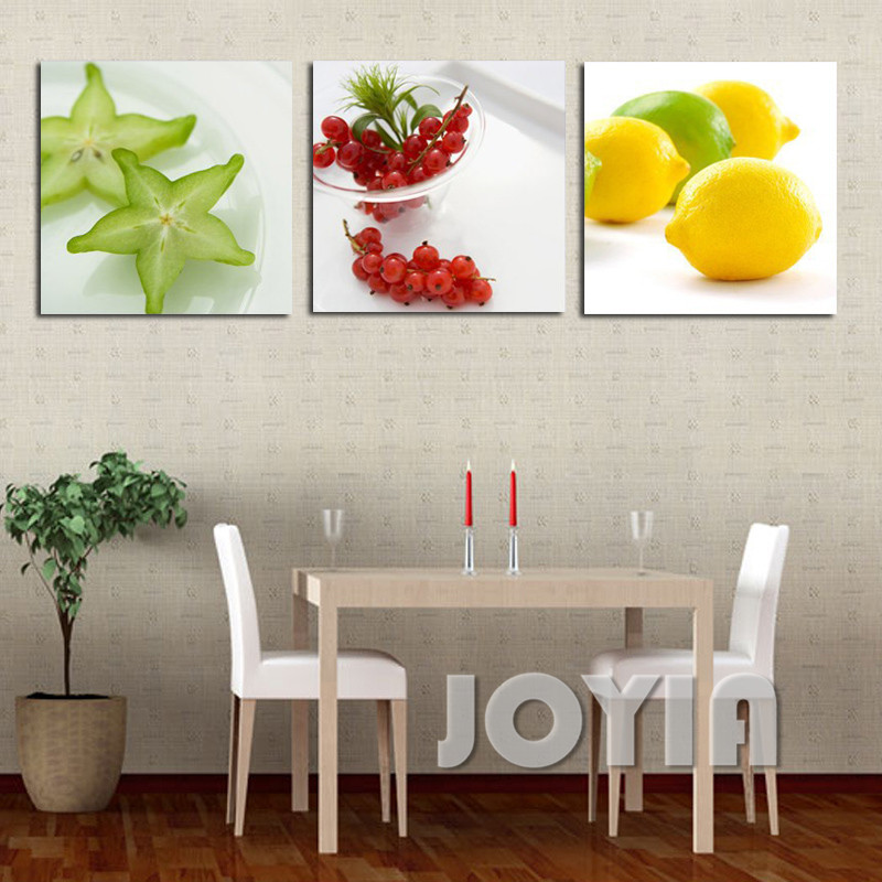 Home Kitchen Decor Picture Fresh Fruit Salad Wall: Modern Wall Art Paintings 3 Piece Kitchen Decor Pictures