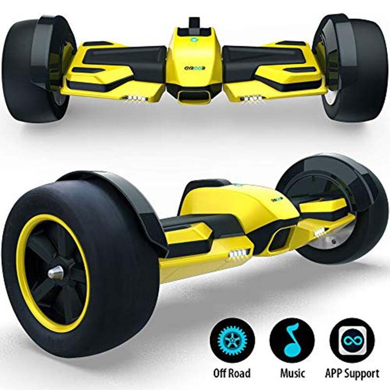 Gyroor F1 8.5 pouces hors route Hoverboard avec haut-parleurs de musique LED lumières auto équilibrage Scooter couleur jaune