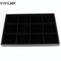 35 24 3cm Black Velvet Jewelry Display 12 Grooves For Accessories Beads Ring Earrings And Bracelet