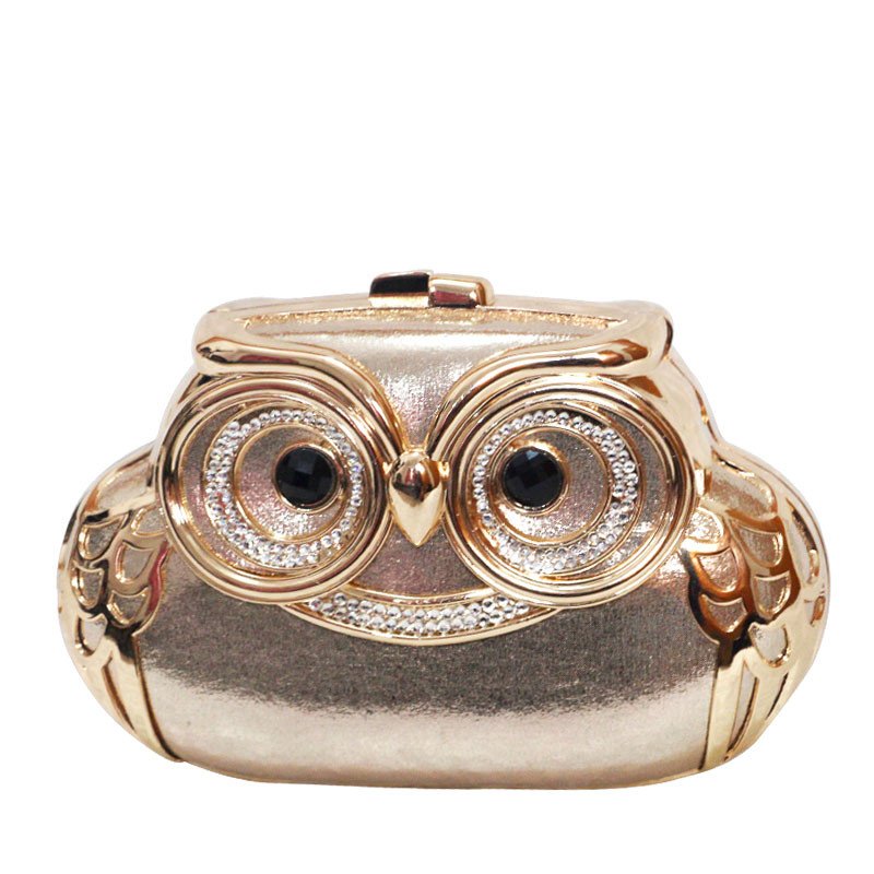 ФОТО Cute Owl Diamond Luxury Evening Bags Chain Shoulder Bag Animal Pattern pochette soiree women clutches designer Party Purse L605