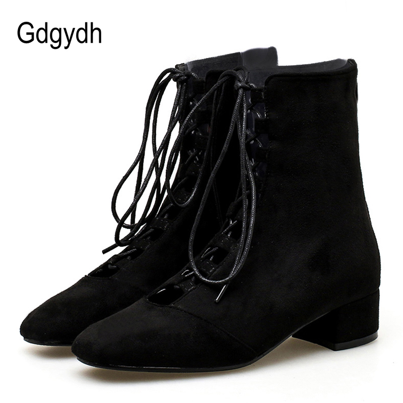 Gdgydh 2018 Autumn Women Boots Thick Heel Lace Up Ladies Casual Shoes Back Zipper Square Toe Ankle Boots For Women Flock autumn winter fashion women boots zipper buckle round toe flock women motorcycle boots women shoes thick heel ankle boots