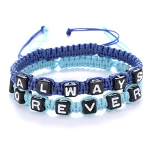 ALWAYS FOEVEER alphabet woven bracelet custom diy alphabet couple bracelets handmade cord braided bracelet with letter cubes