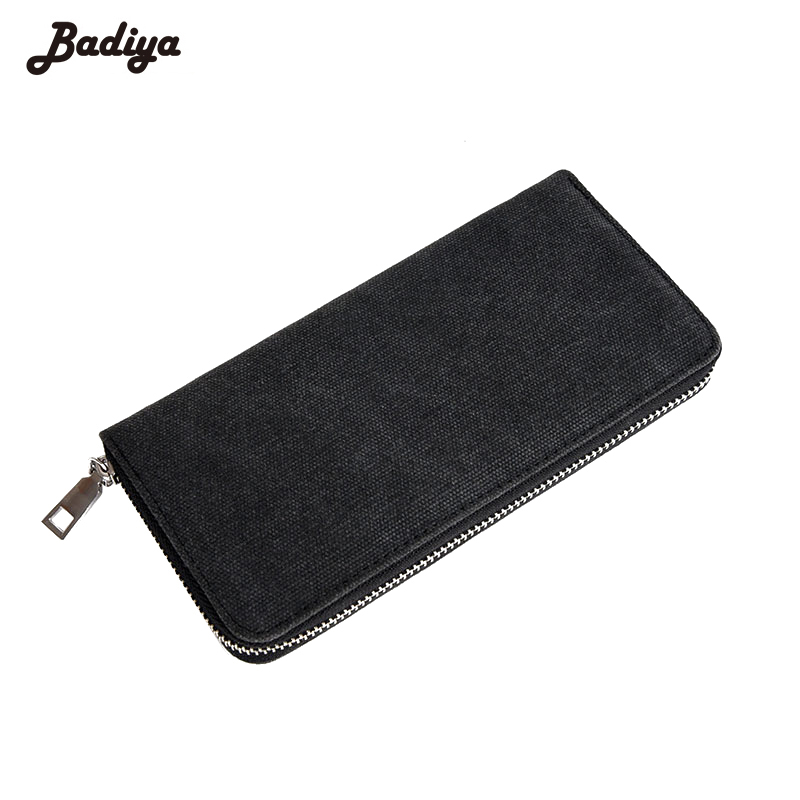 Wallet Long Clutch For Men Solid Card Holder Bifold Canvas Zipper Phone Purse Male Large Capacity Money Bag Carteira Masculina