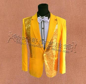 Yellow sequins men suits designs masculino homme terno stage costumes for singers men blazer dance clothes jacket star style