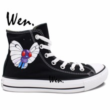 Wen Hand Painted Unisex Casual Shoes Pokemon Butterfree Pocket Monster Women Men's High Top Canvas Shoes Christmas Gifts