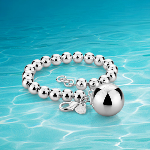 Hot!!!925 sterling silver bracelet woman, personality fashion bracelets, bell solid silver round bead bracelet, girl jewelry