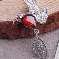 2015 Original New 925 Sterling Silver Garnet Necklace Pendant Bird Folk Style Elegant Jewelry Wholesale