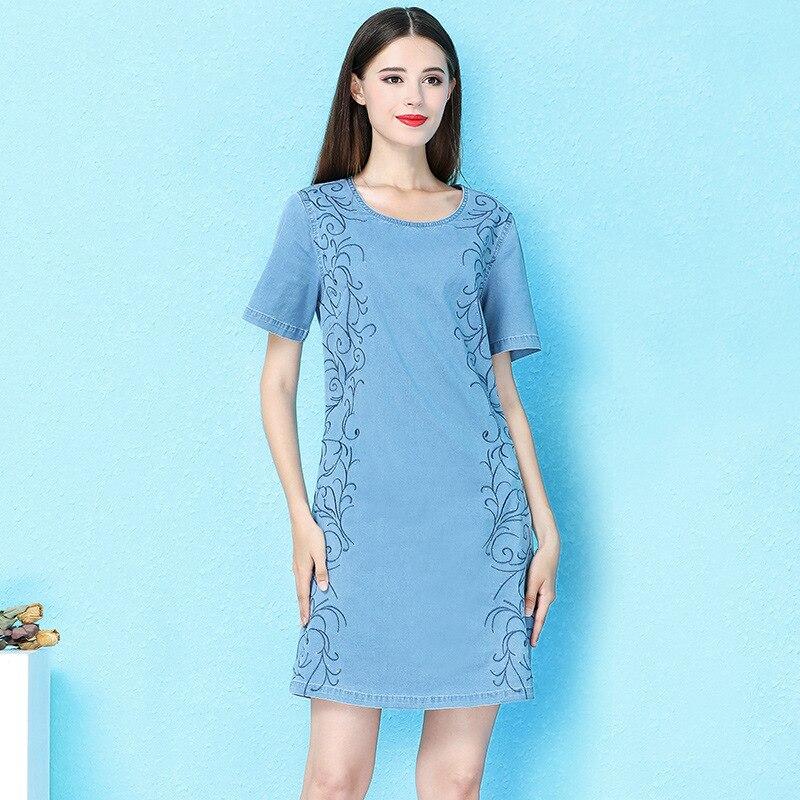 Vent nordique 2019 robe d'été élégant col rond avec diamant broderie denim robe lâche mince mini sexy robe femme NW19B6195