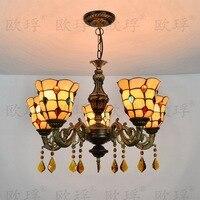 European bar 5 heads Living room bedroom Crystal lamps Tiffany Stained glass Restaurant Pendant Lights 110-240V E27