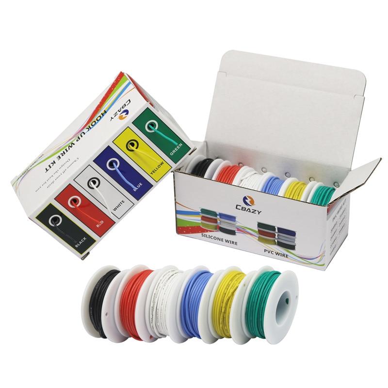 Гибкая силиконовая проволока, луженая медная леска, 18, 20, 22, 24, 28, 30, AWG, 6 цветов (6 цветов, набор многожильных проволок), сделай сам