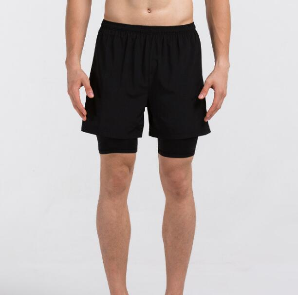 2018 Summer Men Running Shorts Cotton Sports Shorts for Men New Design Pocket with Zipper Black Factory Dropshipping 2 color