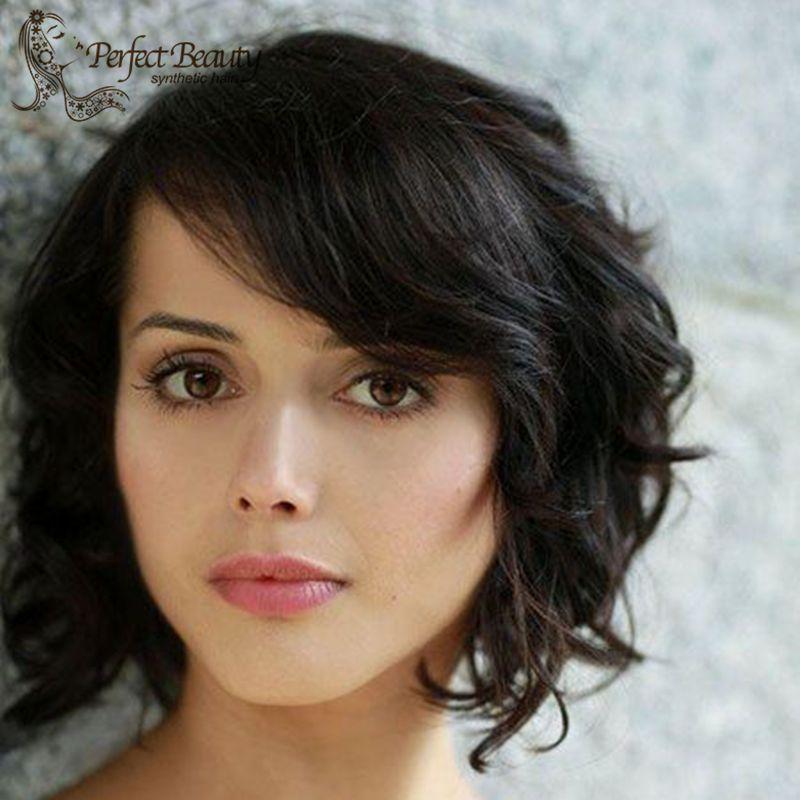Black Short Lace Front Wig Heat Resistant Cute Short Haircuts