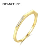 Gem&Time Brand Simple Round Pure Solid 14K Gold Rings for Women Wedding Engagement Fine Jewelry Yellow Gold Anillos AU585 R14009