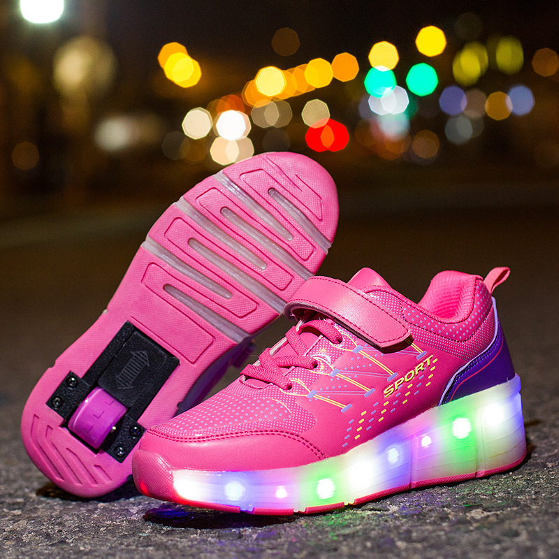 EUR 31-38// Glowing Luminous Basket Wheels Shoes Zapatos Automatic Skate Lights Sports Shoes Kids Sneakers Blue/ Pink Shoes
