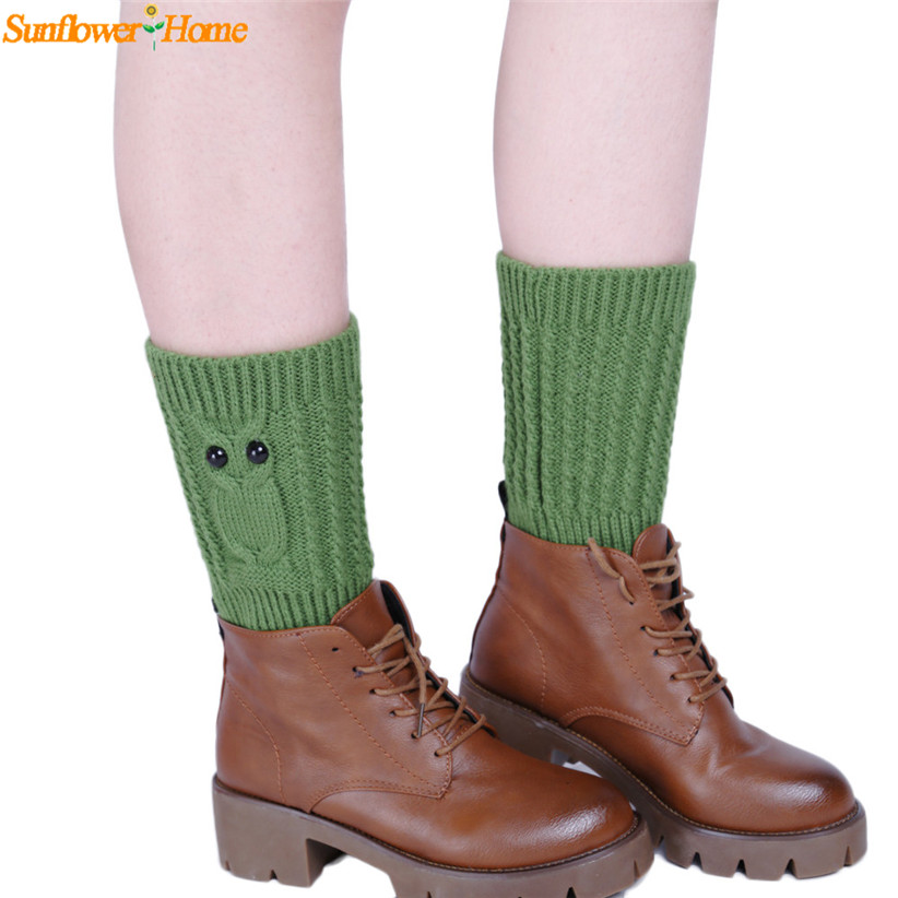 Newly Design Women Knitted Owl Pattern Leg Warmers Warm Boot Leg Cover Trim Socks 160929 Drop Shipping