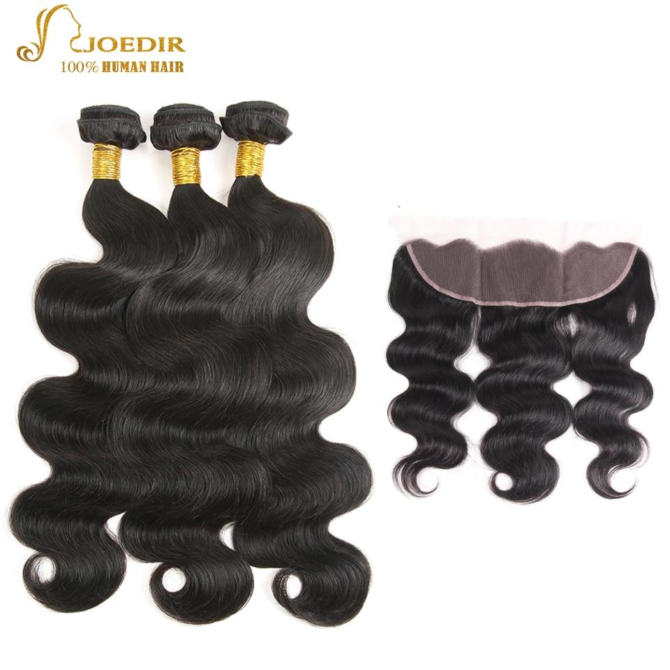 Joedir Brazilian Body Wave Bundles With Closure Non Remy 100% Human Hair Body Wave 3 Bundles With 13X4 Lace Frontal Free Ship