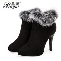 Sexy Women Boots Winter High Heels Ankle Boots Shoes Women Fall Ladies Short Boots Snow Fur