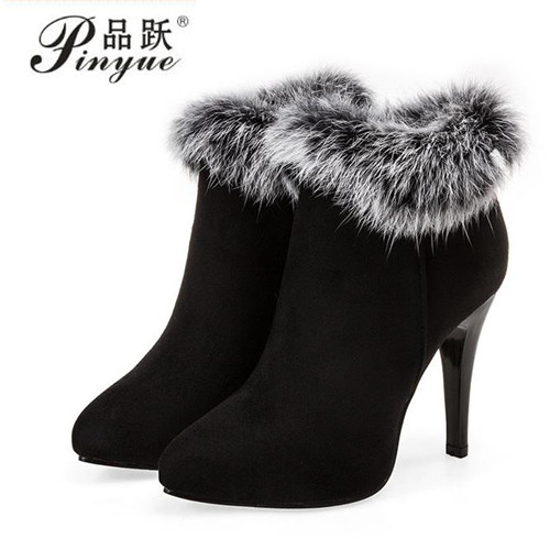 Sexy Women Boots Winter High Heels Ankle Boots Shoes Women Fall Ladies Short Boots Snow Fur Zip White Red Big Size 34--43 warm winter fur leather women ankle boots high heels sexy comfortable shoes ladies short boots cutout shoes big size