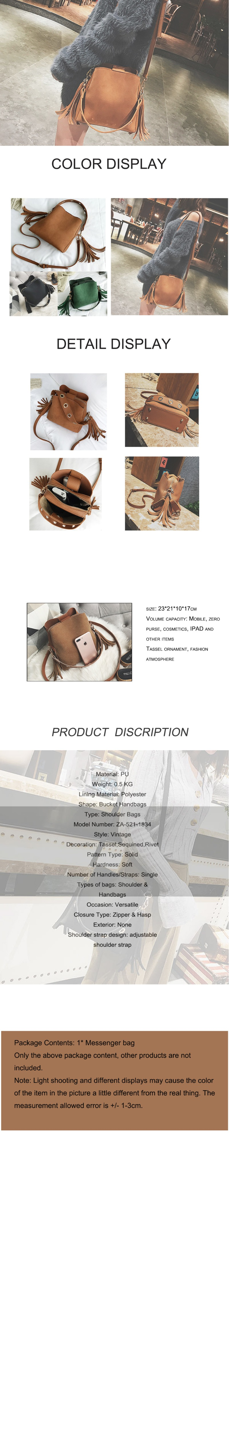2018 Fashion Scrub Women Bucket Bag Vintage Tassel Messenger Bag High Quality Retro Shoulder Bag Simple Crossbody Bag Tote 14