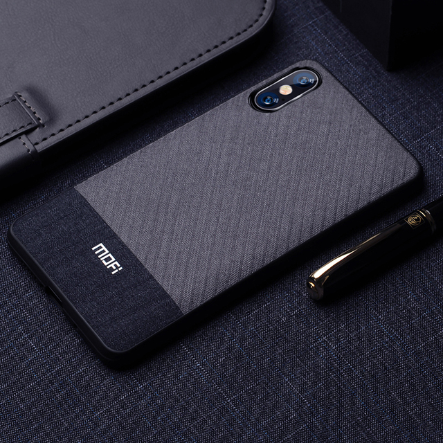 MOFi iPhone X XS XR XS Max Luxury Suit Fabric Shockproof Back Case Cover