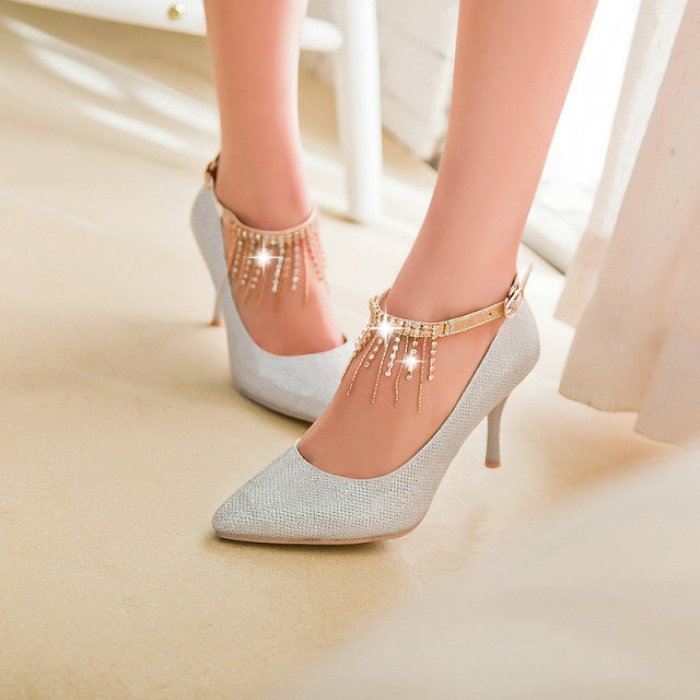 big size 30-44 Ankle Strap Women's Pumps Sexy Pointed Toe High Heels 8cm Office Prom Wedding Shoes Comfort Solid Pumps
