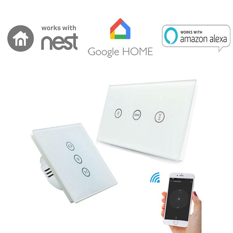 Smart Vorhang Wand Schalter WiFi Steuerung über APP oder Voice Control durch Alexa Google Home Für Motoren Rollladen EU UNS Typ
