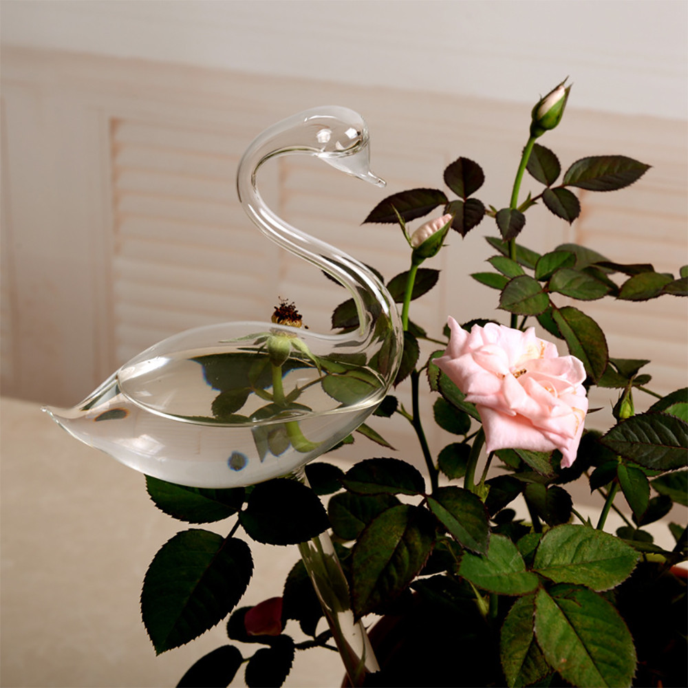 Garden Flower Self Watering ContainerFor Garden Plant Watering Device Indoor Automatic Cute Swan Snail Swan Glass Device Sprink