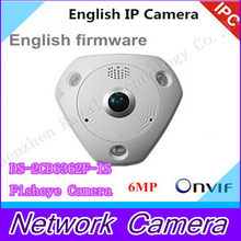 6MP Fisheye Camera,360 degree view angle, New English camera DS-2CD6362F-IS,Network IP camera w/IR,HD IP Camera
