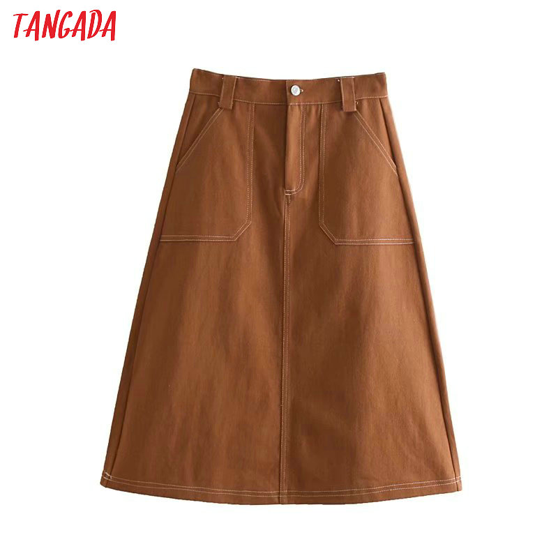 Tangada 2019 Women Vintage Denim Skirt Autumn  Buttons Pocket Retro A Line Midi Skirts Faldas Mujer 4N53