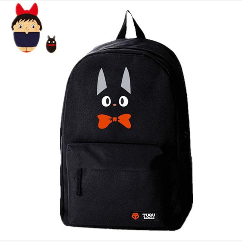 Exclusive Design Anime Totoro Kiki's Delivery Service Black Cat Printing Backpacks for Teenage Girls Emoji School Backpack