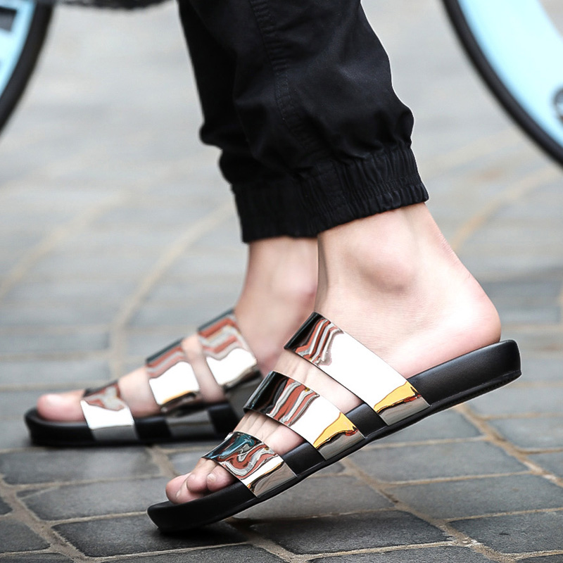 d133e94068412d 2018 new men Rome summer sandals fashion bling slippers outside leather  shoes Novel slides male white cheap shoes black gold-in Slippers from Shoes  on ...