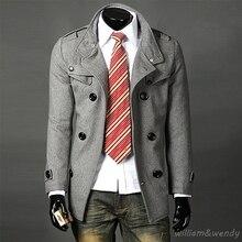 Мужчин Slim Плюс Размер Стильный Полушерстяные Peacoat Зима Осень Теплая Куртка, Шерстяная Кашемир Черный Двойной Грудью Пальто Длинное Пальто