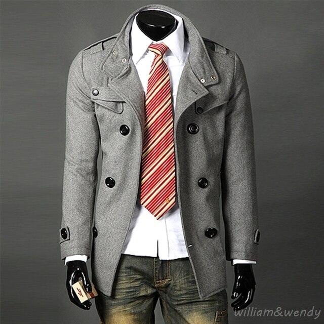 Men Slim Plus Size Stylish Wool Blend Peacoat Winter Autumn Woolen Warm Jacket Cashmere Black Double Breasted Coat Long Overcoat