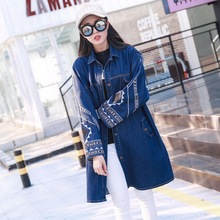 Spring Autumn Personality Novelty Women Cool Fashion SingleBreasted Indian Totem Embroidery Casual Loose Denim Jackets Coats 524