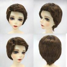 1/4 BJD poupée cheveux courts bouclés brun perruque 8-9 pouces 18-20cm pour AOD DOC Dollfie DK-BLUE accessoire