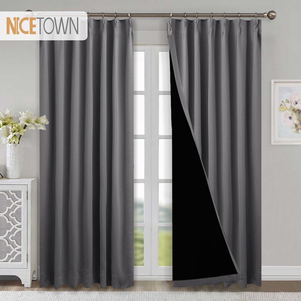 1 font b Pc b font 100 Blackout Fabric Noise Reducing Curtains Light Block Thermal Grommet