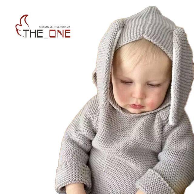 Bebê Das Meninas Dos Meninos 1-5 T Outono Inverno Tricô de Lã Hoodies Orelha de Coelho Com Capuz Crianças Roupas Homewear Camisolas Dos Miúdos para Meninos