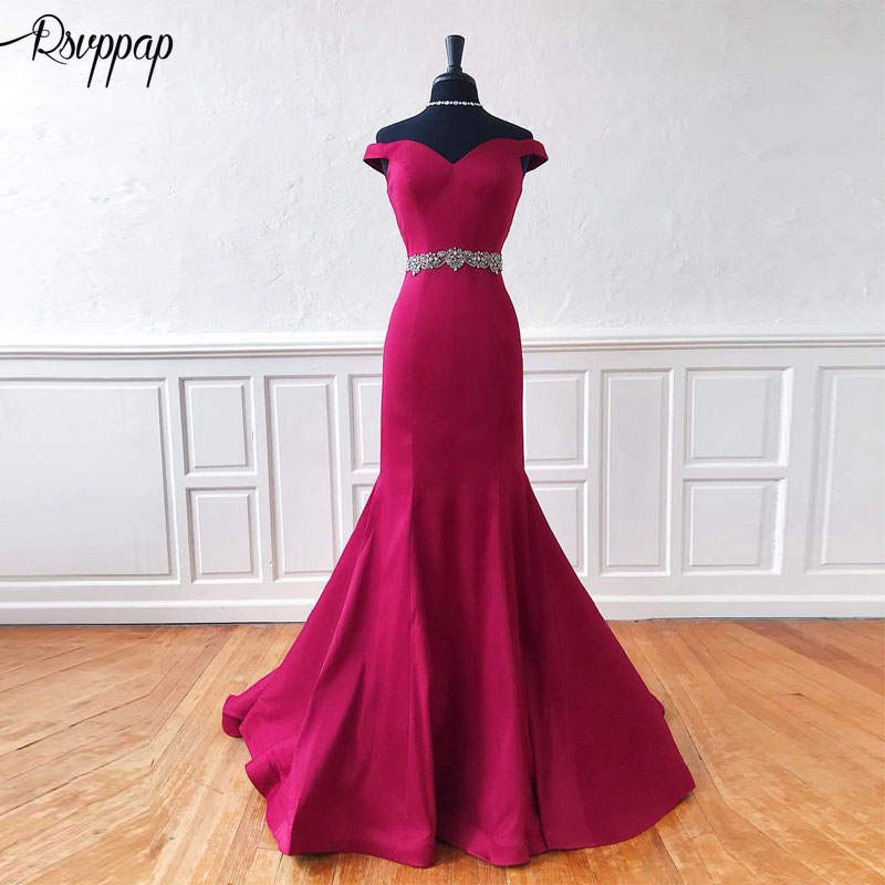 Long Evening Dress 2019 Elegant Mermaid Cap Sleeve Beaded Crystals Hot Pink African Women Formal Evening Gowns robe de soiree