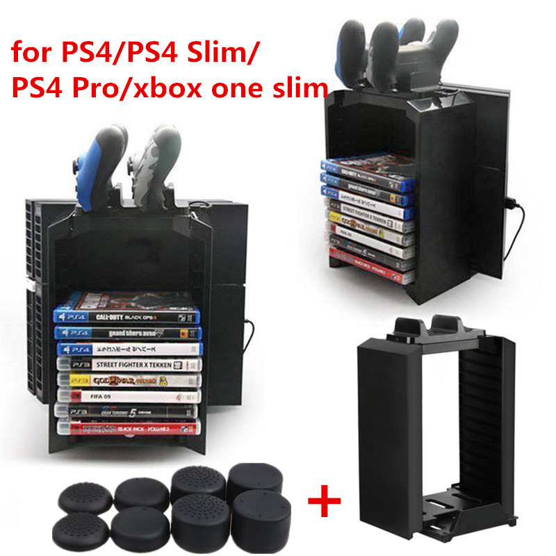Multifunctional Storage Stand Kit Tower Dual Controller Charger Stand Dock Station for Playstation 4/PS4/Slim/Pro/Xbox one Slim