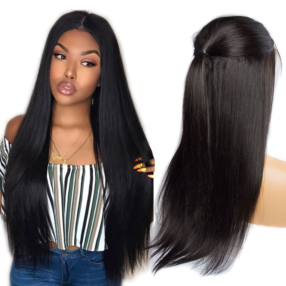 Alibele Remy Peruvian Wig 150 Density Human Hair Straight Lace Front Wig For Black Women 13x4