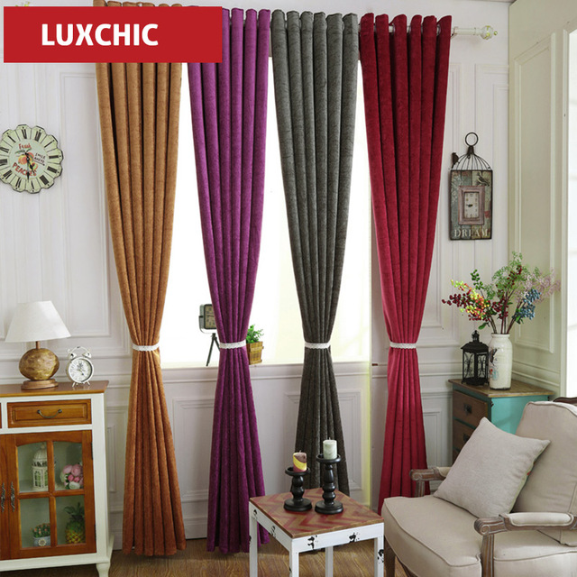 Pure color Chenille Blue Thick Blackout Curtains for Living Room ...