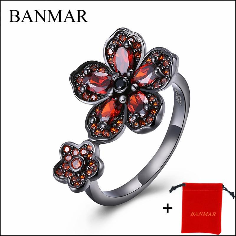 Banmar моды цветок блестящие красное кольцо Красный Для женщин очаровательные Обручение Jewelry черное золото заполненные обещание Кольца Bijoux ...