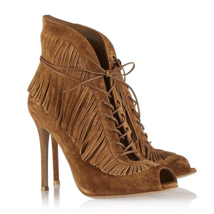 Sandale Date Cheville Haut Brown Designer Femmes Toe Cuir Livraison Talon Fringe Marron Gratuite En Bottes À Chaussons Suede Peep Lacets Gland xxa4c7n