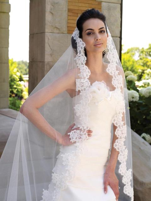 Veu de Noiva Longo 2016 One Layer White Ivory Lace Short Wedding Veil Long Bridal Veil Wedding Accessories Voile Mariage 2017