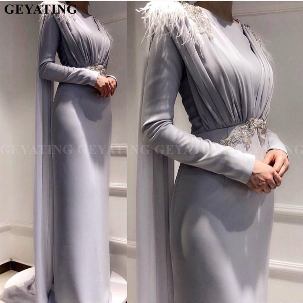 Arabic Long Sleeve Muslim   Evening     Dress   with Cape Feathers Crystal Grey Blue Sheath Formal Party Gowns Dubai Kaftan Prom   Dresses