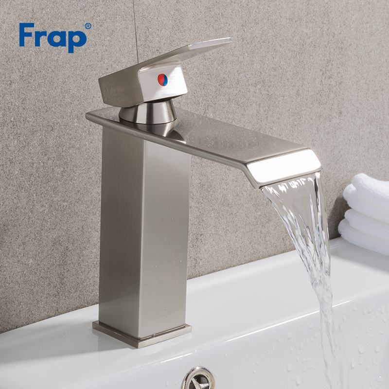 цена на Frap Brushed Nickel Basin Waterfall Faucet Bathroom Single Handle Kitchen Mixer Tap Deck Mounted Square Hot Cold Water Y10144