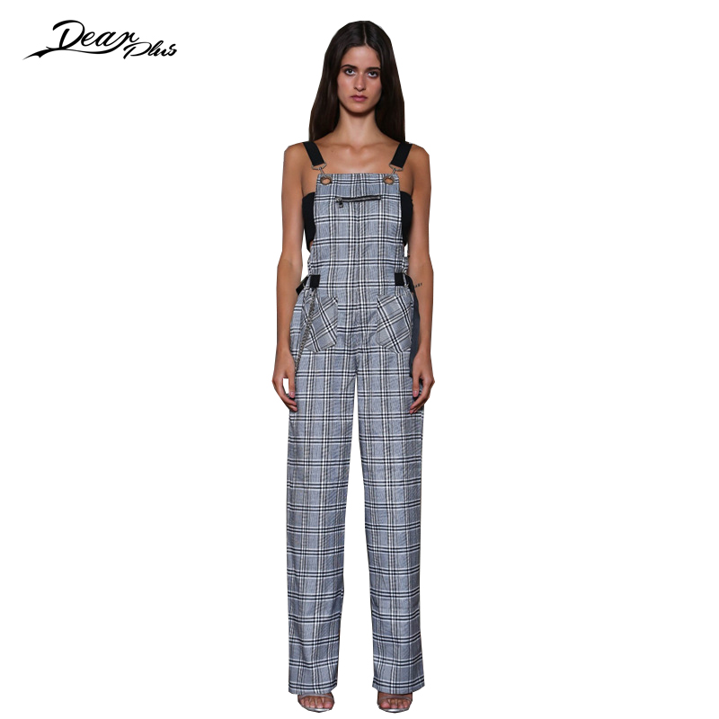 116dcbae6f66 Women Fashion Spaghetti Strap Wide Lege Jumpsuit Slim Casual Loose Rompers  Sexy Backless Plaid Full Length Overall Summer Spring