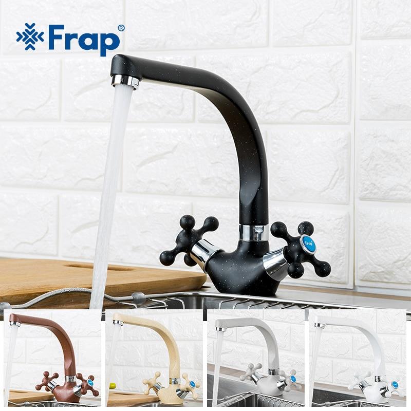 Frap NEUE Multicolor Spray malerei Küche waschbecken Wasserhahn Kalt-und Warmwasser Mischbatterie Doppel Griff 360 Rotation F5408-7/ 8/10/21