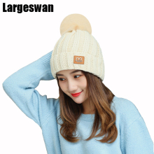Largeswan brand gorros knitted hat warm winter hats for women beanies Letter cotton skullies female pom poms hat autumn cap